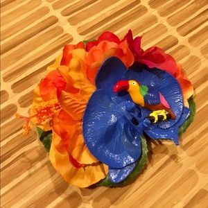 Parrot, orchid & hibiscus tiki hair flower